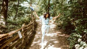 Hiking at Dundas Valley Trail located in Hamilton, Ontario in the summer