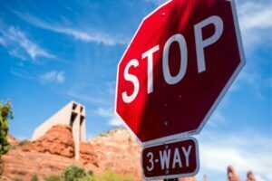 Stop Sign outside of the Chapel of the Holy Cross