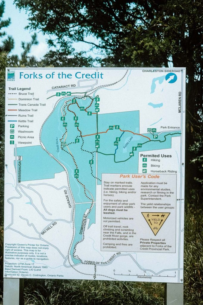 Forks of the Credit Provincial Park Map Sign, Caledon, Ontario
