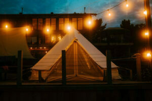 Glamping Tent at Night with Fairy Lights on taken at Pine Falls Lodge located in the Greater Sudbury Area