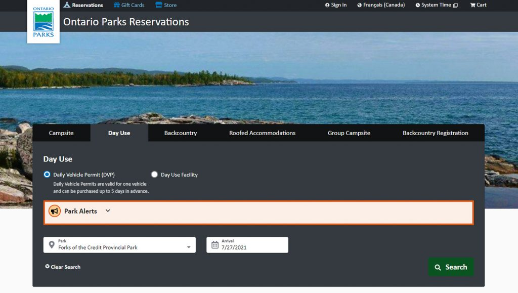Ontario Parks Reservation Day Use Screenshot