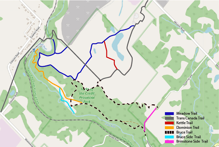 Trail Map created on Open Street Map for Forks of the Credit Provincial Park
