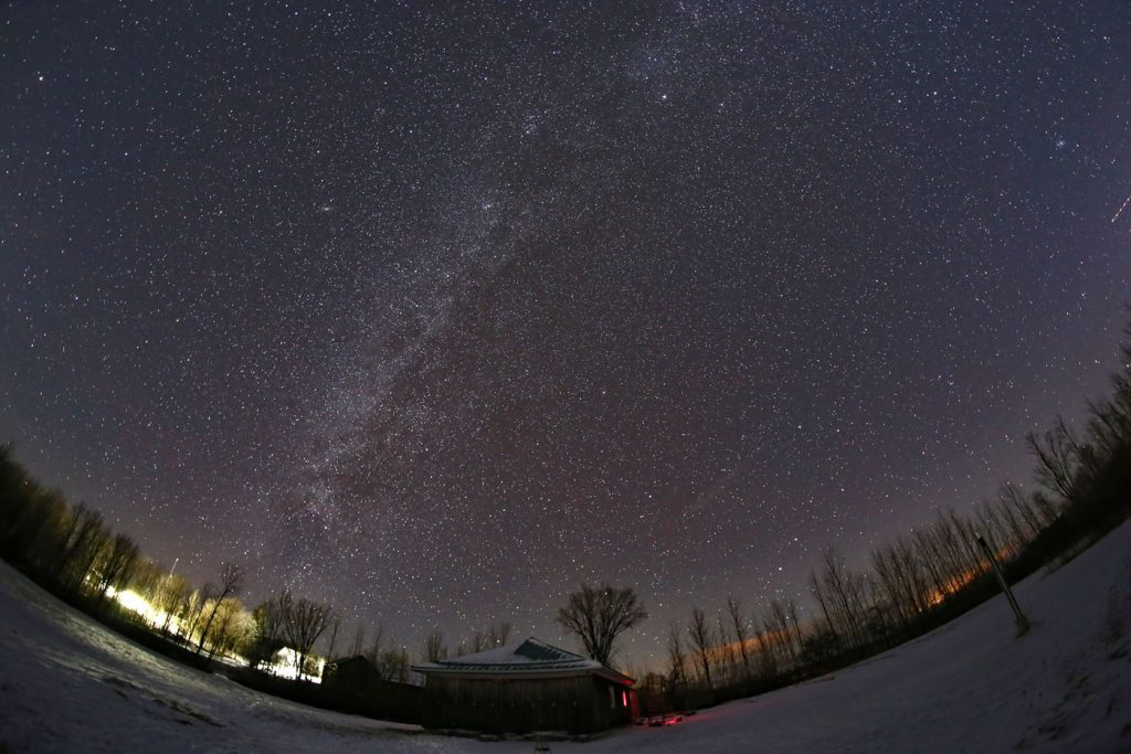 Fish eye view of the Night Sky taken at Bluewater Outdoor Education Centre - PC: Bluewater Outdoor Education Centre FB page