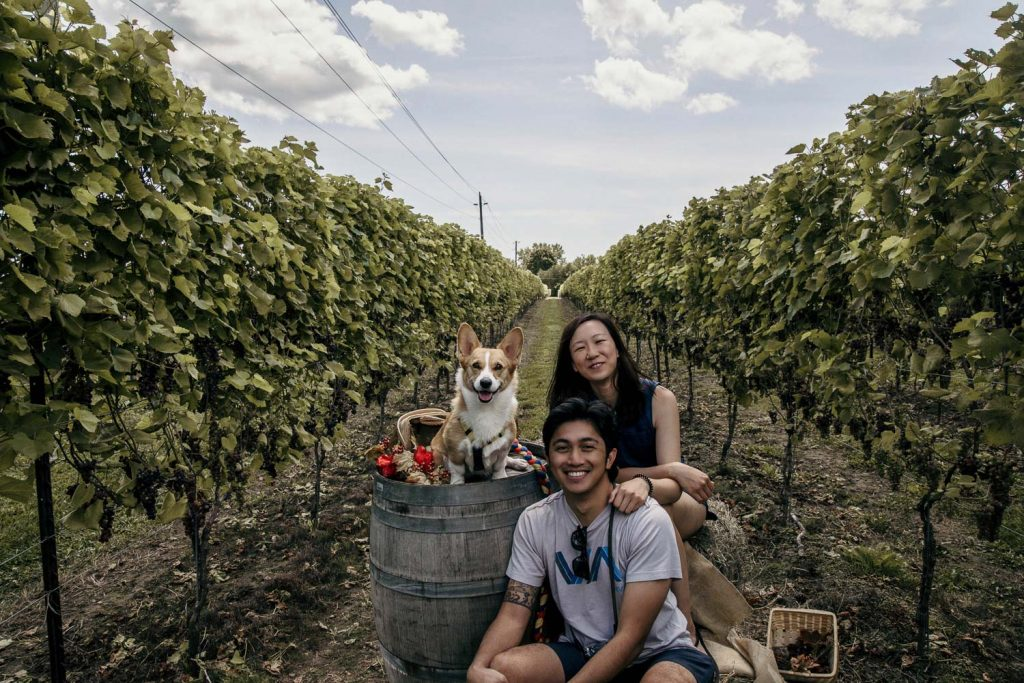 Maria, Limone, and Angelo from SYDE Road posing at the Top Dog Photoshoot even held at the dog-friendly Hounds of Erie Winery in the Norfolk County