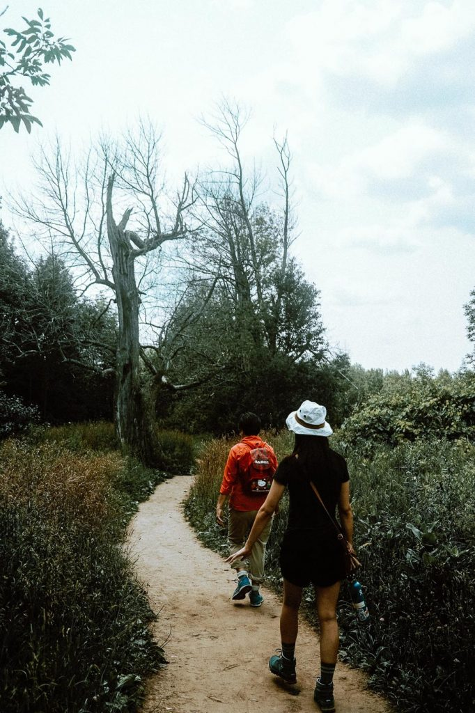 2 women walking on the Meadow Trail at Forks of the Credit Provincial Park