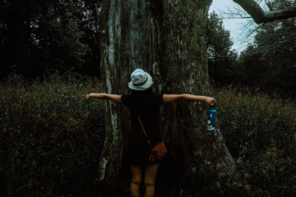 Woman with arms outstretched in front of a thick tree trunk at Forks of the Credit Provincial Park