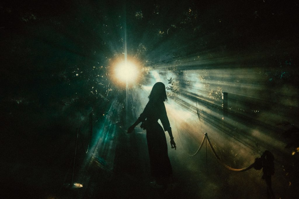 Silhouette of woman standing in front of a single bright light set behind a forest. Terra Lumina at the Toronto Zoo
