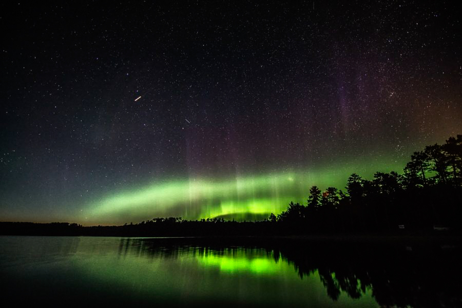 Northern Lights taken from Quetico Provincial Park PC: Rob Stimpson for Ontario Parks