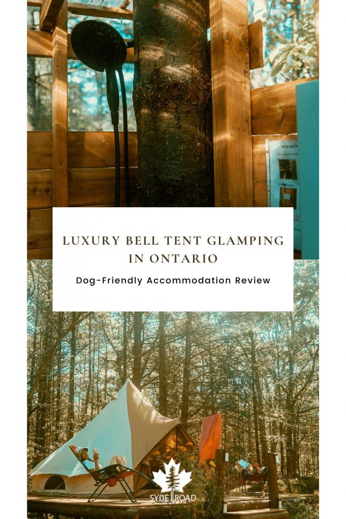 Luxury Bell Tent Glamping in Ontario. Dog-Friendly Accommodation Review. Outdoor Hot Water Shower