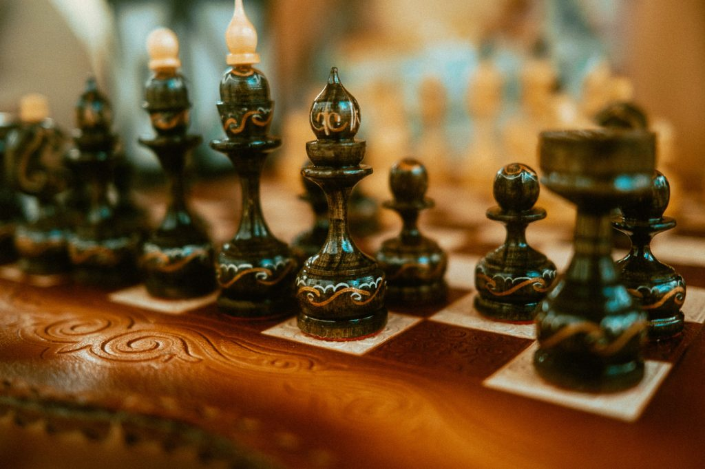 Interior of Sibo's Bell Tent in Verona, Ontario is well stocked with board games like this chess board