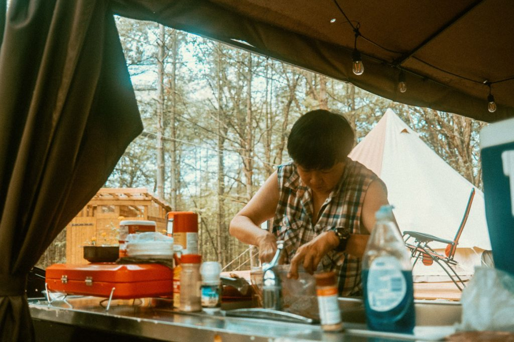 Prepping Food for the grill at Sibo's Bell Tent Glamping Site in Verona Ontario