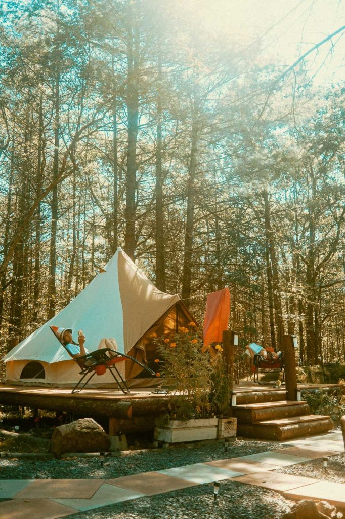 Lounging outside the Bell Tent in Verona, Ontario