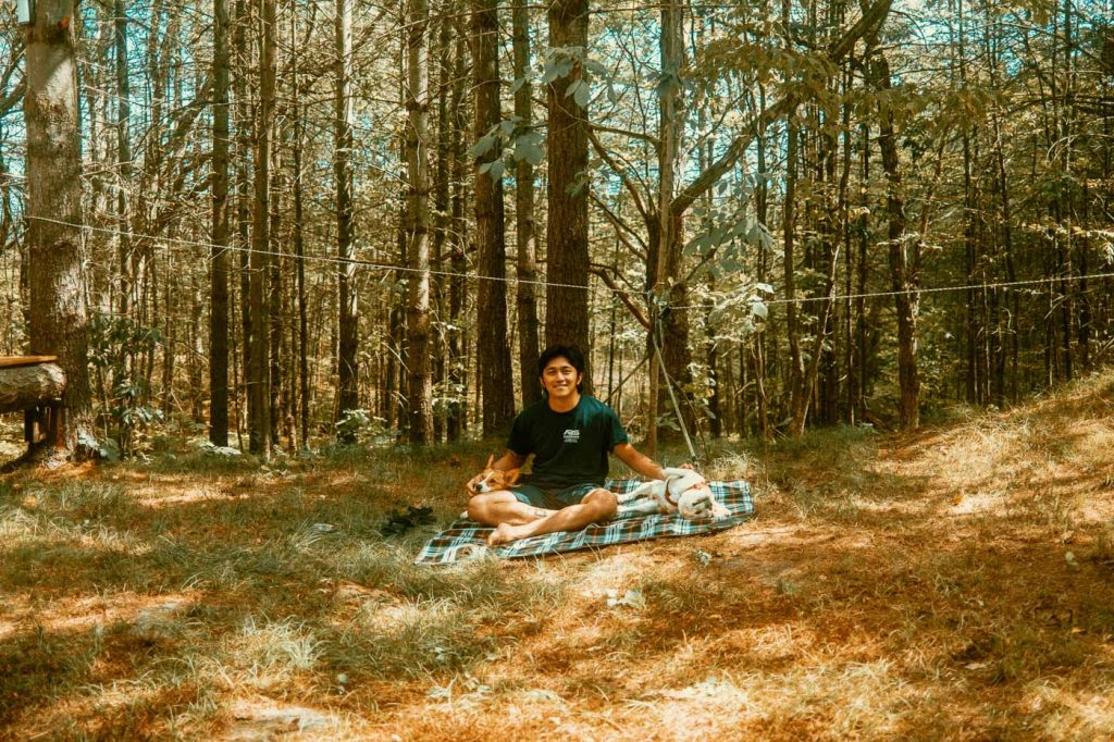 2 dogs and Angelo on a picnic mat in the forest during our stay at Sibo's Bell Tent Glamping Site in Verona, Ontario