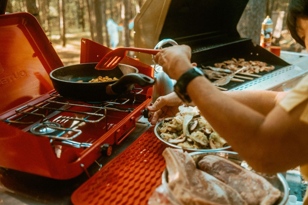 Cooking Macaroni on the Gas Stovetop at Sibo's Bell Tent Glamping Site