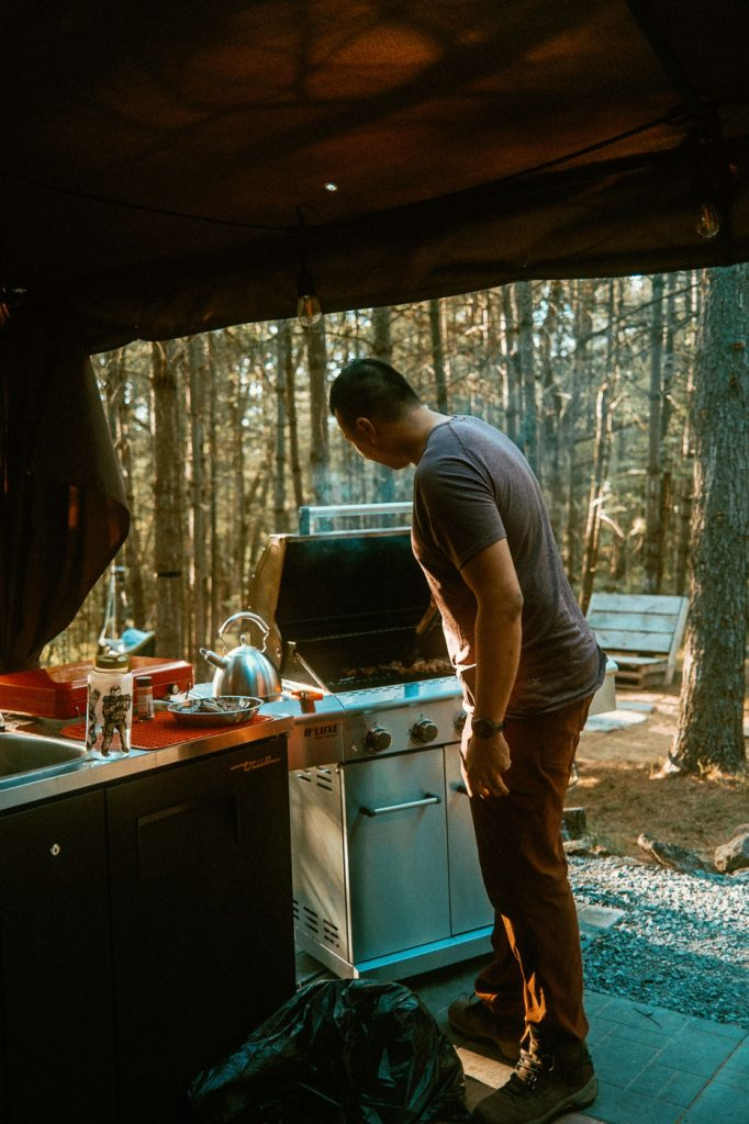 BBQing at Sibo's Bell Tent Glamping site in Verona, Ontario