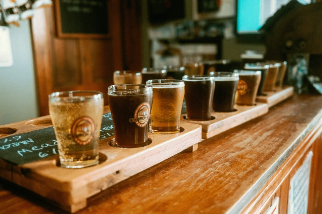 Set of beer flights on counter . Part of Guess Where Trips - Outdoor Adventures and Scenic Roads